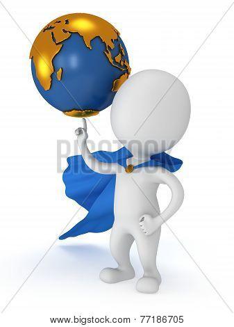 Brave Superhero Hold World On Pointing Finger