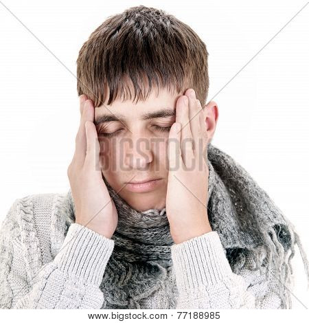 Young Man Feels Headache