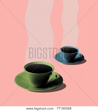 Illustration Of Green And Blue Coffee Cups Fifties Style
