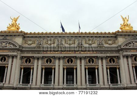 PARIS, FRANCE - NOV 08, 2012:Front Facade of Opera National de Paris. Grand Opera (Garnier Palace) is famous neo-baroque building in Paris, France - UNESCO World Heritage Site.