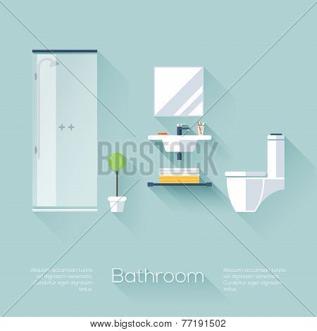 Bathroom Cover With Shower, Sink And Toilet. Flat Style With Long Shadows. Modern Trendy Design.