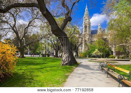 beautiful park near city hall in Vienna, Austria