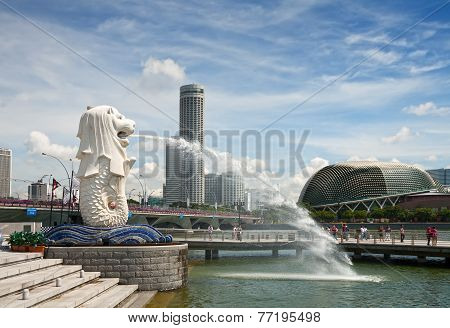 Merlion Fountain In Sigapore