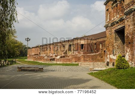BREST/ BELARUS - SEPTEMBER 21, 2014:  the ruins of the old fortress in the Memorial Complex «Brest H