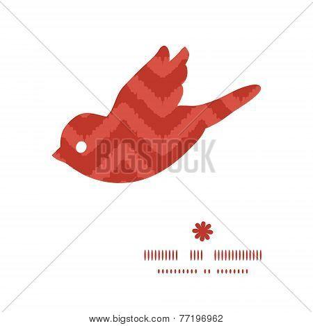 Vector colorful ikat chevron bird silhouette pattern frame