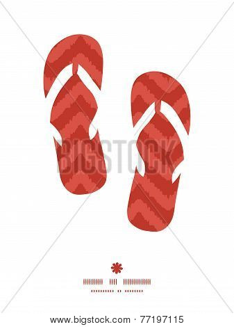 Vector colorful ikat chevron flip flops silhouettes pattern frame