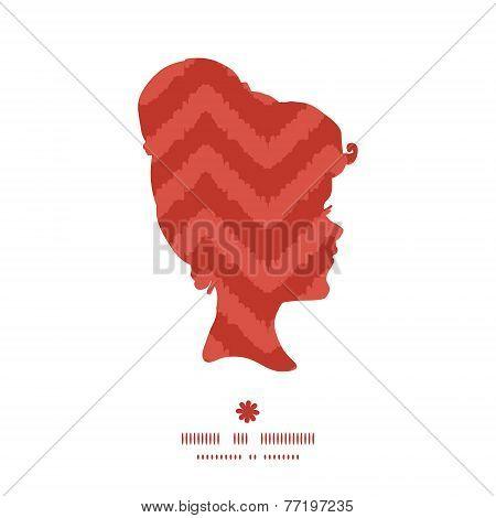 Vector colorful ikat chevron girl portrait silhouette pattern frame