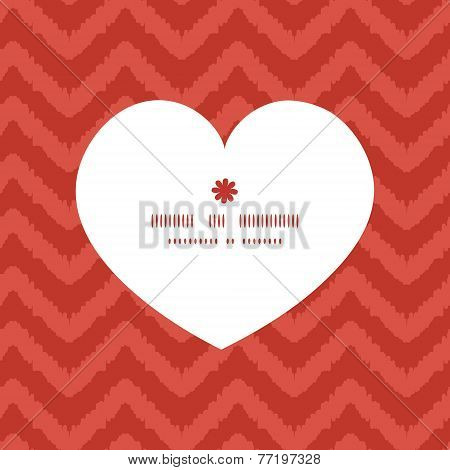 Vector colorful ikat chevron heart silhouette pattern frame