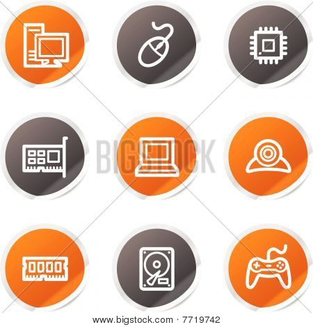 Computer web icons, orange and grey stickers
