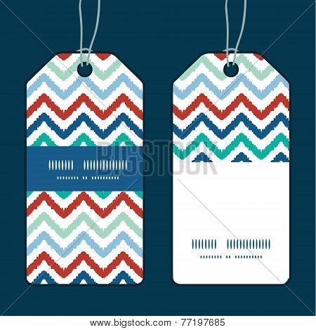 Vector colorful ikat chevron vertical stripe frame pattern tags set