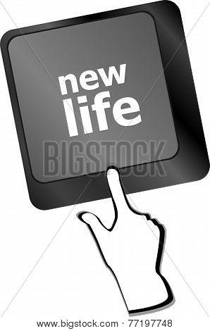 Black Keyboard Keys With New Life Words