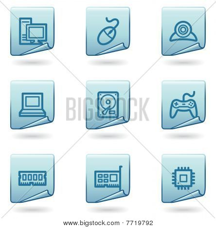 Computer icons, blue sticker series