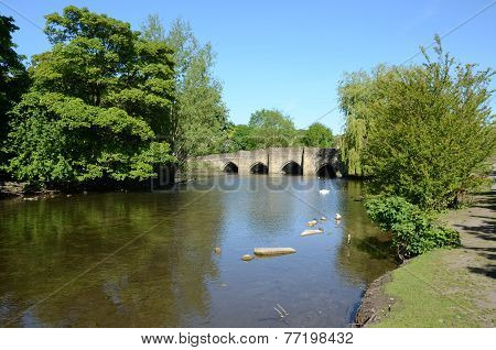 Medieval five-arched bridge at Bakewell