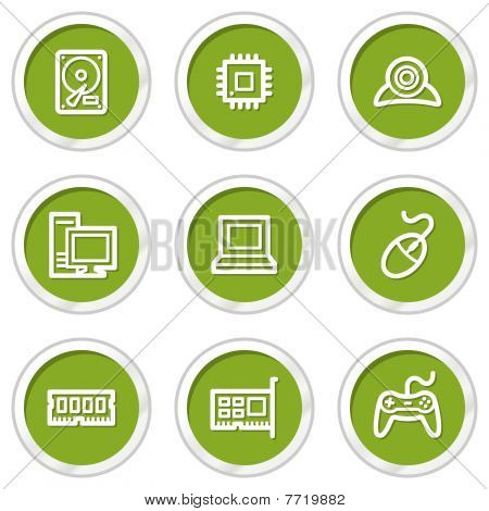 Computer web icons, green circle buttons