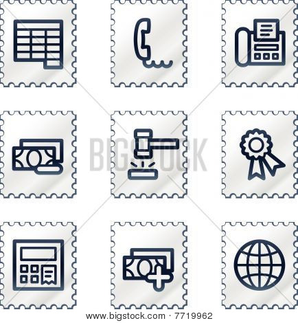 Finance web icons set 2, white stamp series