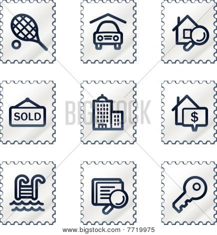 Real estate web icons, white stamp series