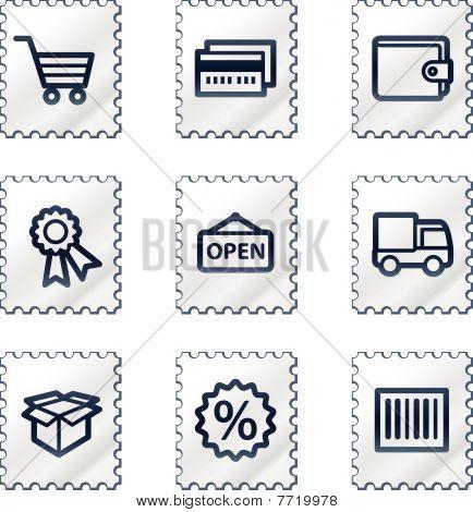 Shopping web icons set 2, white stamp series