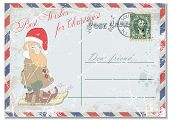 pic of dwarf  - vintage grunge postcard with the image of a cheerful gnome and congratulations on Christmas - JPG