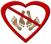 stock photo of love-making  - Love making feet in heart shaped forbidden sign on an isolated white background with a clipping path - JPG