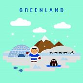picture of eskimos  - Greenland landscape flat vector - JPG