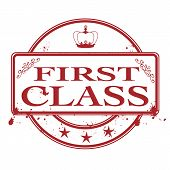 image of first class  - first class grunge stamp with on vector illustration - JPG