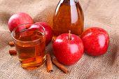 image of cider apples  - Apple cider with cinnamon sticks and fresh apples on sackcloth background - JPG