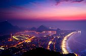 picture of ipanema  - Night View Of Rio de Janeiro with Ipanema Beach - JPG