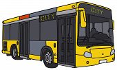 stock photo of motor-bus  - Vector illustration of hand drawn yellow city bus  - JPG