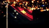 pic of papua new guinea  - Papua New Guinea National Flag City Light Night Broken Background 3D - JPG