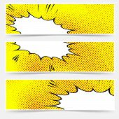 stock photo of sketch book  - Yellow header book comic explosion banner - JPG