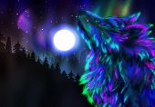 stock photo of aurora borealis  - Colorful northern landscape with howling wolf spirit and aurora borealis - JPG