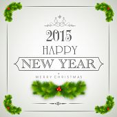 foto of mistletoe  - Happy New Year 2015 and Merry Christmas celebration poster - JPG