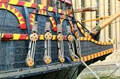 stock photo of galleon  - Detail from the replica of Sir Francis Drake - JPG