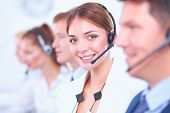pic of telemarketing  - Attractive  positive young businesspeople and colleagues in a call center office - JPG