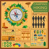 stock photo of motorhome  - Camping outdoors hiking infographics - JPG