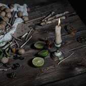 pic of rune  - Still life of ingredients for making potions witch - JPG