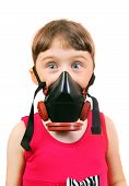 pic of breather  - Surprised Little Girl in in Gas Mask Isolated on the White Background - JPG