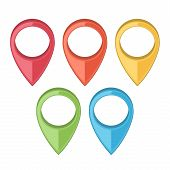 stock photo of gps  - Set of Map Pointers - JPG