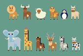 pic of oxen  - Vector set of animal lionbull sheep tiger penguin ox elephant giraffe horse deer zebra cow - JPG