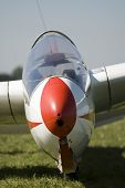 foto of glider  - A glider on the ground field waiting for take - JPG