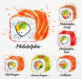 image of dragon-fish  - Sushi watercolor set hand drawn with stains and smudges rolls - JPG