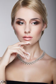 foto of posh  - Sophisticated Aristocratic Posh Lady with Pearly Necklace - JPG
