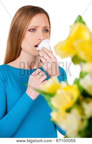 Woman Sneezing.