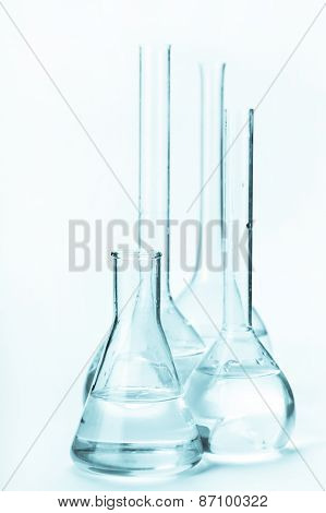 Variety Of Glass Flasks With Reagents