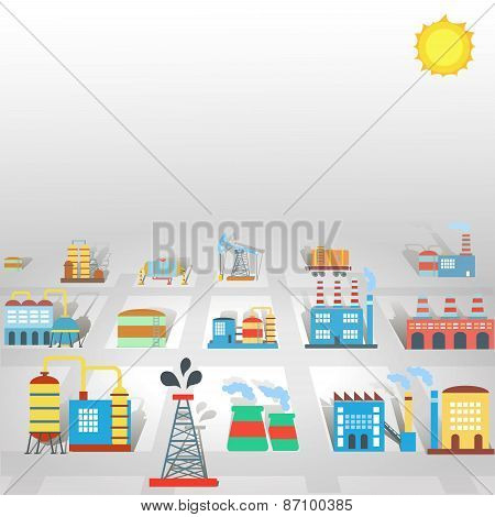 Factory flat industry background  with manufactory production  and technology buildings vector illus