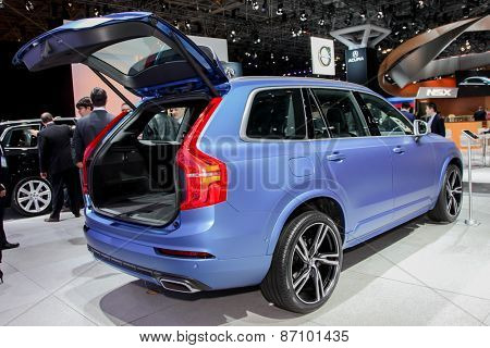 NEW YORK - APRIL 1: Volvo exhibit XC 90 at the 2015 New York International Auto Show during Press day,  public show is running from April 3-12, 2015 in New York, NY.