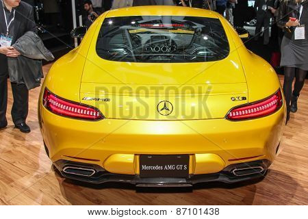 NEW YORK - APRIL 1: Mercedes-Benz  exhibit AMG GT S at the 2015 New York International Auto Show during Press day,  public show is running from April 3-12, 2015 in New York, NY.