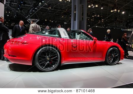 NEW YORK - APRIL 1: Porsche exhibit 911 Targa 4 GTS at the 2015 New York International Auto Show during Press day,  public show is running from April 3-12, 2015 in New York, NY.