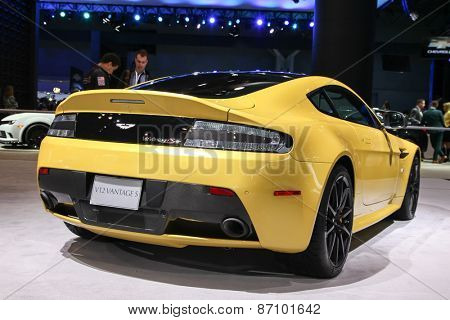 NEW YORK - APRIL 1: Aston Martin  exhibit Aston Martin V12 Vantage S at the 2015 New York International Auto Show during Press day,  public show is running from April 3-12, 2015 in New York, NY.