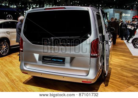 NEW YORK - APRIL 1: Mercedes-Benz  exhibit Mercedes-Benz Metris at the 2015 New York International Auto Show during Press day,  public show is running from April 3-12, 2015 in New York, NY.